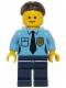 Minifig No: twn220  Name: Police - Female Officer, Dark Brown Hair with Bun