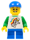 Minifig No: twn224  Name: Classic Space Minifigure Floating Pattern, Blue Short Legs, Blue Short Bill Cap