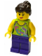 Minifig No: twn227  Name: Female Lime Halter Top with Dolphin Pattern, Dark Purple Legs, Dark Brown Ponytail and Swept Sideways Fringe, Pink Lips