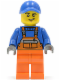 Minifig No: twn232  Name: Overalls with Safety Stripe Orange, Orange Legs, Blue Cap with Hole, Lopsided Grin