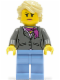 Minifig No: twn236  Name: Dark Bluish Gray Jacket with Magenta Scarf, Medium Blue Legs, Tan Hair (Grandma)