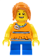 Minifig No: twn238  Name: Girl, Blue Short Legs, Dark Orange Hair Ponytail Long with Side Bangs