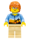 Minifig No: twn245a  Name: Dad, Bright Light Orange Sunset and Palm Trees Shirt