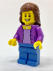 Minifig No: twn280  Name: Medium Lavender Jacket over Lavender Shirt, Medium Blue Legs, Reddish Brown Female Hair Mid-Length
