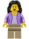 Minifig No: twn290  Name: Mom, Medium Lavender Jacket over Lavender Shirt, Dark Tan Legs, Black Hair