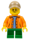 Minifig No: twn291  Name: Boy, Orange Jacket with Hood over Light Blue Sweater, Green Short Legs, Dark Tan Cap with Hole