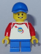 Minifig No: twn302  Name: Boy - Classic Space Shirt with Red Sleeves, Blue Short Legs, Blue Cap