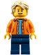 Minifig No: twn305  Name: Orange Jacket with Hood over Light Blue Sweater, Dark Blue Legs, Tan Tousled Hair, Open Lopsided Grin