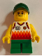 Minifig No: twn329  Name: Boy, Jersey with #39, Green Short Legs, Dark Green Cap