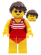 Minifig No: twn336  Name: Beach Tourist Female with Red Bathing Suit