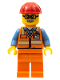 Minifig No: twn346  Name: Orange Safety Vest with Reflective Stripes, Orange Legs, Red Construction Helmet, Glasses