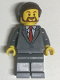 Minifig No: twn347  Name: Suit Jacket Buttoned with Red Tie, Dark Bluish Gray Legs, Dark Brown Smooth Hair