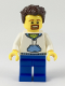 Minifig No: twn349  Name: Male with Dark Brown Hair, Goatee, White Hoodie with Bright Light Blue Hood and Pocket (Ludo Blue)