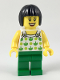 Minifig No: twn350  Name: Female, Black Short Hair, White Top with Green Apples and Lime Dots, Green Legs (Ludo Green)