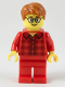 Minifig No: twn355  Name: Male with Dark Orange Hair, Glasses, Red Flannel Shirt, Red Legs (Ludo Red)