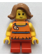 Minifig No: twn376  Name: Child Girl with Medium Nougat Short Swept Sideways Hair and Red Short Legs