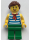 Minifig No: twn377  Name: Female with Reddish Brown Ponytail and Swept Sideways Fringe Hair, Red Scarf, Blue Striped Shirt and Green Pants