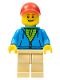 Minifig No: twn380  Name: Man, Dark Azure Hoodie with Green Striped Shirt, Tan Legs, Red Cap
