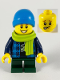 Minifig No: twn383  Name: Child Boy, Dark Azure Beanie, Lime Scarf, Banana Shirt, Dark Green Legs