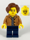 Minifig No: twn384  Name: Female, Short Reddish Brown Hair, Medium Nougat Glasses and Shirt, Dark Blue Legs