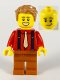 Minifig No: twn386  Name: Male, Medium Nougat Hair, Red Shirt, Tan Tie, Dark Blue Suspenders, Dark Orange Legs