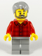 Minifig No: twn387  Name: Male, Light Bluish Gray Hair, Dark Bluish Gray Beard, Red Flannel Shirt, Light Bluish Gray Legs (10270)