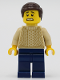 Minifig No: twn388  Name: Male with Tan Knit Sweater, Dark Blue Legs and Dark Brown Hair