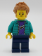 Minifig No: twn390  Name: Male with Purple Shirt, Dark Turquoise Jacket, Dark Blue Legs and Medium Nougat Hair