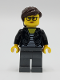 Minifig No: twn391  Name: Female with Striped Black and White Shirt, Black Jacket, Dark Bluish Gray Legs, Dark Brown Hair
