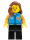 Minifig No: twn393  Name: Female with Sports Jacket, Black Legs, Reddish Brown Hair