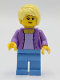 Minifig No: twn394  Name: Female with Medium Lavender Jacket, Medium Blue Legs, Bright Light Yellow Hair