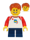 Minifig No: twn397  Name: Boy with Classic Space Shirt with Red Sleeves, Dark Blue Short Legs, Dark Orange Hair