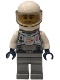Minifig No: twn400  Name: Astronaut - Male, Flat Silver Spacesuit with Harness and White Panel with Classic Space Logo, Stubble
