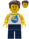 Minifig No: twn407  Name: Surfer - Male, White Tank Top with Dark Azure Windsurf, Dark Blue Legs, Dark Brown Hair