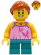 Minifig No: twn408  Name: Tourist - Girl, Bright Pink Top with Butterflies and Flowers, Dark Turquoise Short Legs, Dark Orange Hair