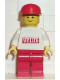 Minifig No: vel001  Name: Velux Sticker on White Torso, Red Legs, Red Cap