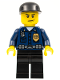 Minifig No: wc004  Name: Police - World City Patrolman, Dark Blue Shirt with Badge and Radio, Black Legs, Black Cap