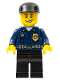 Minifig No: wc005  Name: Police - World City Patrolman, Dark Blue Shirt with Badge and Radio, Black Legs, Black Cap, Smile