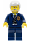 Minifig No: wc006  Name: Police - World City Chief, Dark Blue Suit with Badge and Tie, Dark Blue Legs