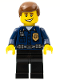 Minifig No: wc009  Name: Police - World City Patrolman, Dark Blue Shirt with Badge and Radio, Black Legs, Brown Male Hair, Smile