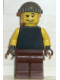 Minifig No: wc011  Name: Plain Black Torso with Yellow Arms, Brown Legs, Dark Gray Knit Cap