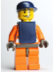 Minifig No: wc012  Name: Coast Guard World City, Orange Jacket with Zipper, Dark Blue Cap, Dark Blue Vest