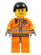 Minifig No: wc014  Name: Coast Guard World City, Orange Jacket with Zipper, Black Male Hair