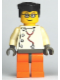 Minifig No: wc015  Name: Doctor - Stethoscope with 4 Side Buttons, Orange Legs, Black Flat Top Hair, Glasses