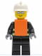 Minifig No: wc016  Name: Fire - Reflective Stripes, Black Legs, White Fire Helmet, Silver Sunglasses, Orange Vest