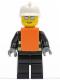 Minifig No: wc016  Name: Fire - Reflective Stripes, Black Legs, White Fire Helmet, Silver Sunglasses, Orange Vest