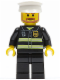 Minifig No: wc020  Name: Fire - Reflective Stripes, Black Legs, White Hat