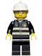 Minifig No: wc021  Name: Fire - Reflective Stripes, Black Legs, White Fire Helmet, Silver Sunglasses