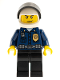 Minifig No: wc023  Name: Police - World City Patrolman, Dark Blue Shirt with Badge and Radio, Black Legs, White Helmet, Black Visor