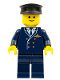 Minifig No: wc025  Name: Airport - Pilot, Dark Blue Legs, Dark Blue Top, Black Hat